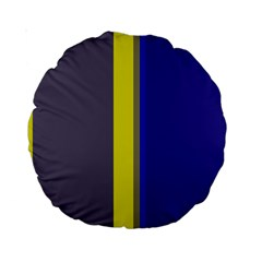 Blue and yellow lines Standard 15  Premium Round Cushions