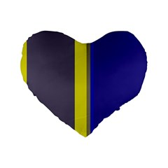 Blue and yellow lines Standard 16  Premium Heart Shape Cushions