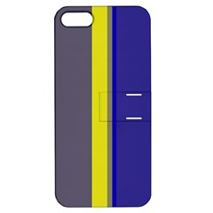 Blue and yellow lines Apple iPhone 5 Hardshell Case with Stand