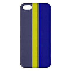 Blue and yellow lines Apple iPhone 5 Premium Hardshell Case