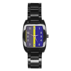 Blue and yellow lines Stainless Steel Barrel Watch