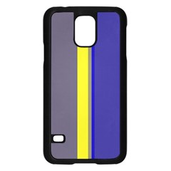 Blue and yellow lines Samsung Galaxy S5 Case (Black)