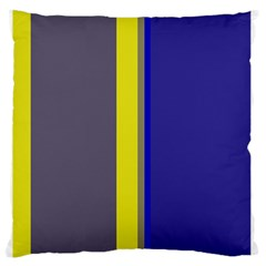 Blue and yellow lines Large Flano Cushion Case (One Side)