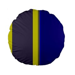 Blue and yellow lines Standard 15  Premium Flano Round Cushions