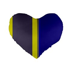 Blue and yellow lines Standard 16  Premium Flano Heart Shape Cushions