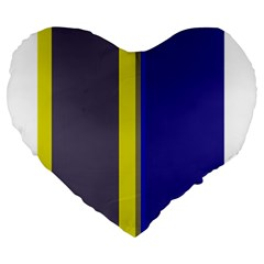 Blue and yellow lines Large 19  Premium Flano Heart Shape Cushions