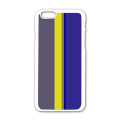 Blue and yellow lines Apple iPhone 6/6S White Enamel Case