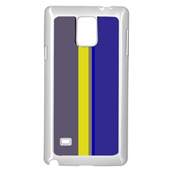 Blue and yellow lines Samsung Galaxy Note 4 Case (White)