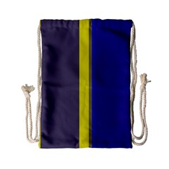 Blue and yellow lines Drawstring Bag (Small)