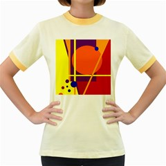 Orange abstract design Women s Fitted Ringer T-Shirts