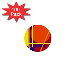 Orange abstract design 1  Mini Buttons (100 pack)