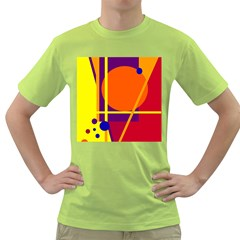Orange abstract design Green T-Shirt