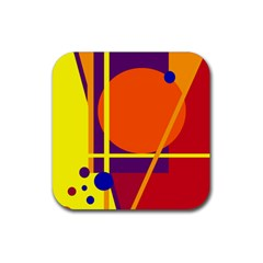 Orange abstract design Rubber Square Coaster (4 pack)