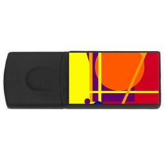 Orange abstract design USB Flash Drive Rectangular (1 GB)