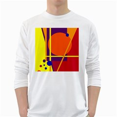 Orange abstract design White Long Sleeve T-Shirts