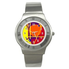 Orange abstract design Stainless Steel Watch