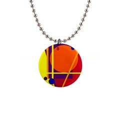 Orange abstract design Button Necklaces