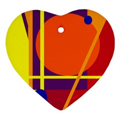 Orange abstract design Heart Ornament (2 Sides)
