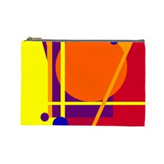 Orange abstract design Cosmetic Bag (Large)