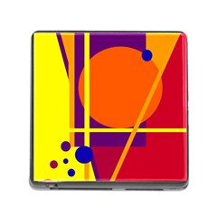 Orange abstract design Memory Card Reader (Square)