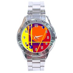 Orange abstract design Stainless Steel Analogue Watch