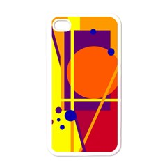 Orange abstract design Apple iPhone 4 Case (White)