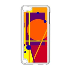 Orange abstract design Apple iPod Touch 5 Case (White)