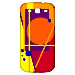 Orange abstract design Samsung Galaxy S3 S III Classic Hardshell Back Case