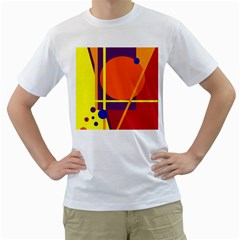 Orange abstract design Men s T-Shirt (White)