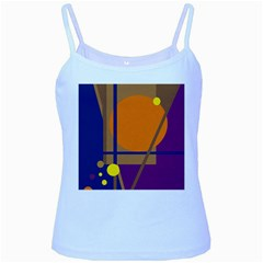 Decorative abstract design Baby Blue Spaghetti Tank