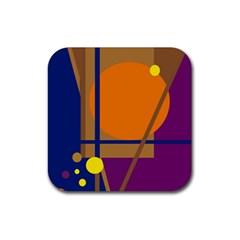 Decorative abstract design Rubber Coaster (Square)