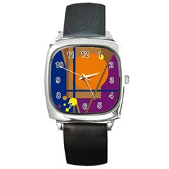 Decorative abstract design Square Metal Watch