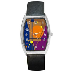 Decorative abstract design Barrel Style Metal Watch