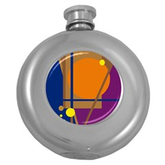 Decorative abstract design Round Hip Flask (5 oz)