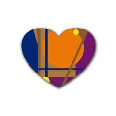 Decorative abstract design Rubber Coaster (Heart)