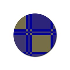 Blue design Rubber Coaster (Round)