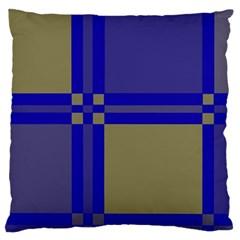Blue design Large Flano Cushion Case (One Side)