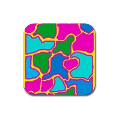 Colorful abstract design Rubber Coaster (Square)