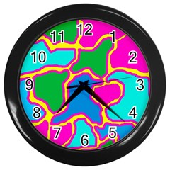 Colorful abstract design Wall Clocks (Black)