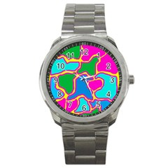 Colorful abstract design Sport Metal Watch