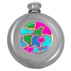 Colorful abstract design Round Hip Flask (5 oz)