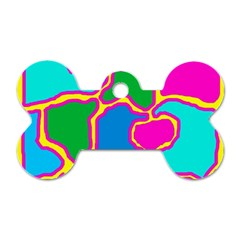 Colorful abstract design Dog Tag Bone (Two Sides)