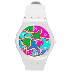 Colorful abstract design Round Plastic Sport Watch (M)