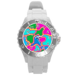 Colorful abstract design Round Plastic Sport Watch (L)