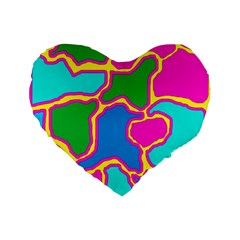 Colorful abstract design Standard 16  Premium Heart Shape Cushions