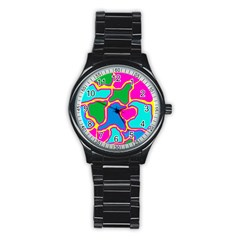 Colorful abstract design Stainless Steel Round Watch