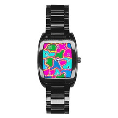 Colorful abstract design Stainless Steel Barrel Watch