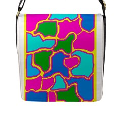 Colorful abstract design Flap Messenger Bag (L)