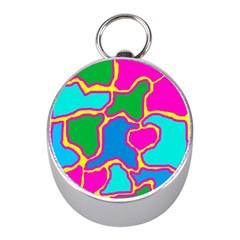 Colorful abstract design Mini Silver Compasses
