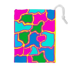 Colorful abstract design Drawstring Pouches (Extra Large)